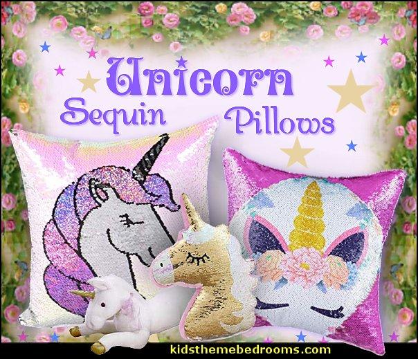 Unicorn Sequin Pillows  unicorn bedding - unicorn decor - unicorn bedroom ideas - unicorns - Unicorn & Rainbows bedrooms -  unicorn duvet - fantasy theme bedroom decorating ideas - fairytale bedrooms decor - pegasus decor - unicorn wall murals - Unicorn bedroom decor - unicorn wall decals - unicorn baby bedrooms - unicorn baby girl bedroom - unicorn crib bedding - unicorn gifts