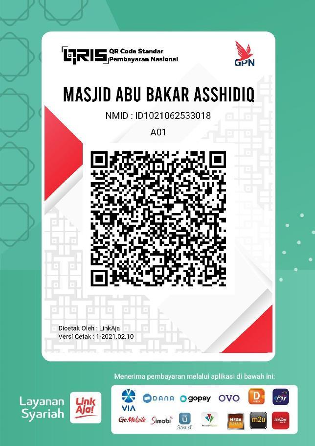 QRIS Kotak Amal Online Masjid Abu Bakar Ash-Shiddiq, Donasi Digital via HP