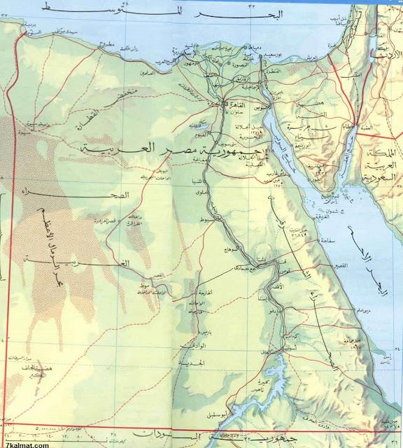 خريطة حدود مصر