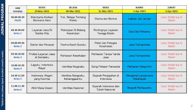 jadwal program belajar dari rumah bdr tvri tanggal 29 30 31 maret 1 2 april 2021 kemendikbud tomatalikuang.com