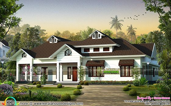 Sloping roof dormer window house architetcure