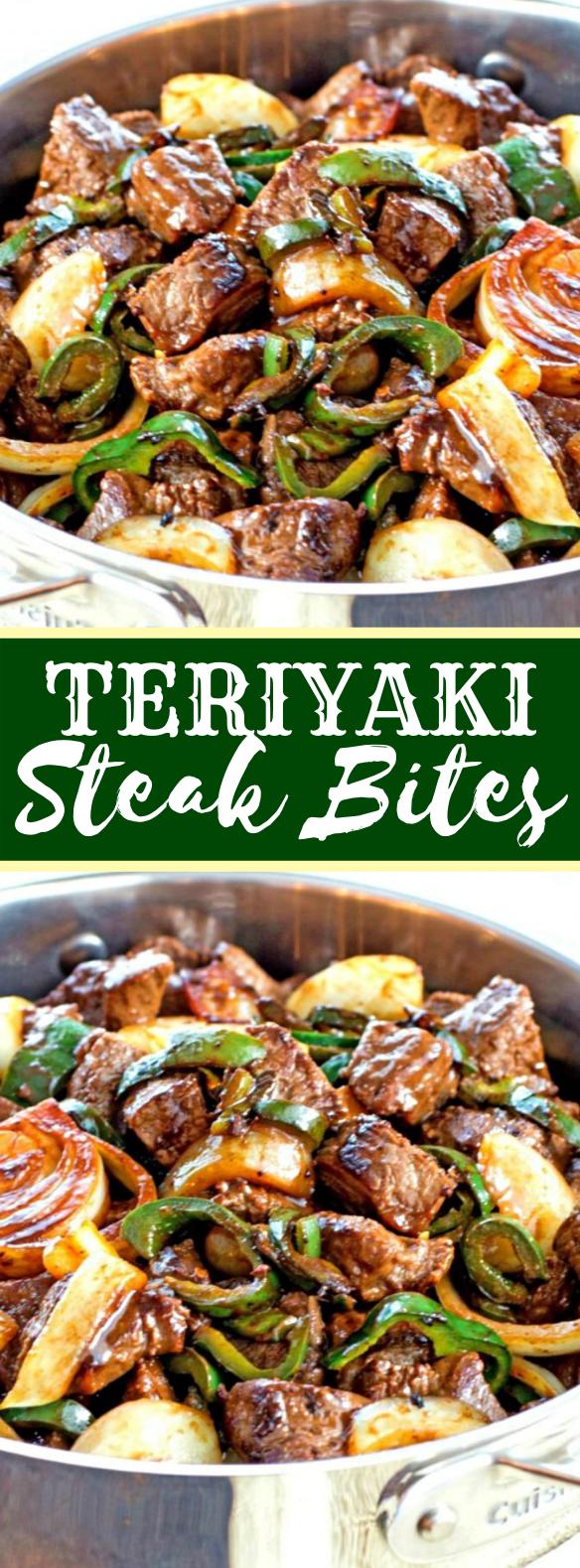 Teriyaki Steak Bites with Green Pepper and Onion #japanesefood #dinner #teriyaki #lunch #comfortfood