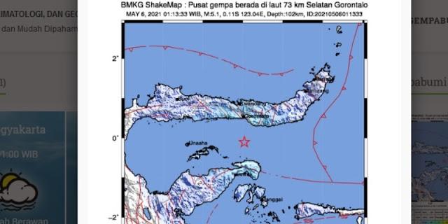 Gempa Bumi 5,1 Magnitude Guncang Gorontalo