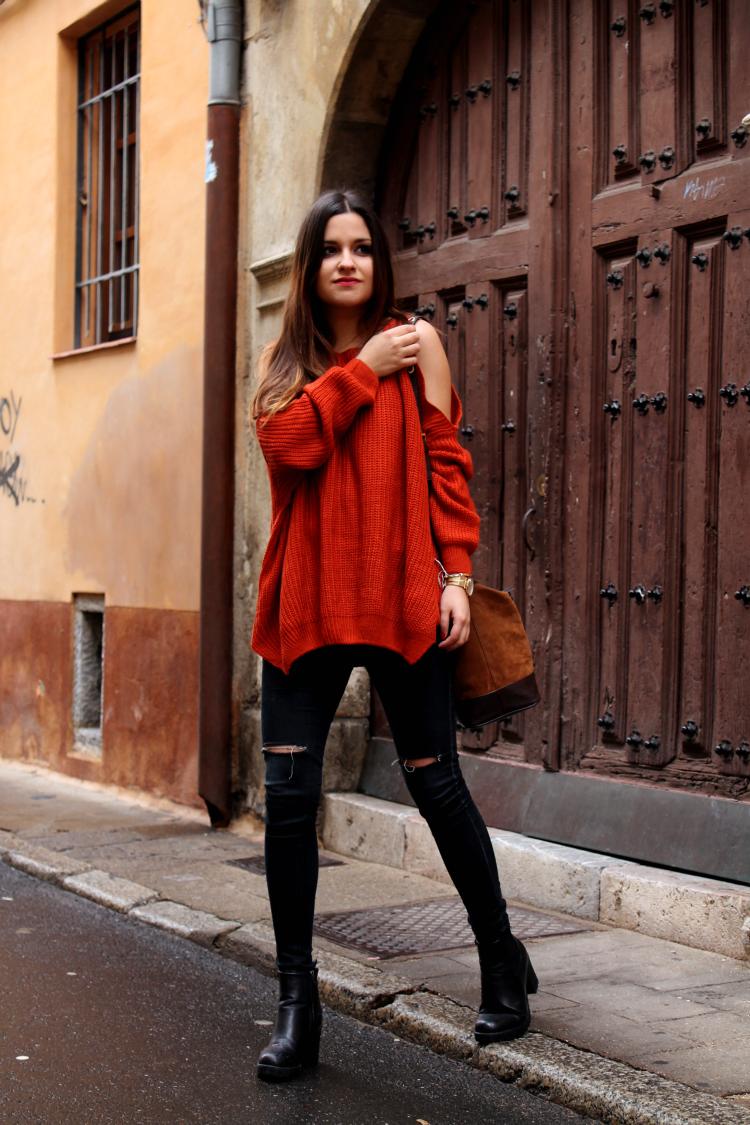 jersey con hombros al aire blog moda leon