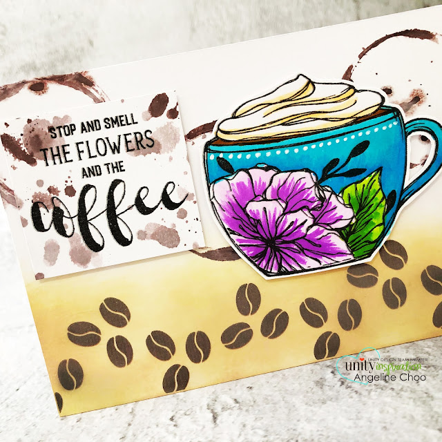 ScrappyScrappy: Happy 11th Birthday Unity Stamp! -Coffee Queen #scrappyscrappy #unitystampco #card #cardmaking #papercraft #handmadecard #unitystampbirthday #gracielliedesign #coffeelover #coffeequeen #coffeebeans #coffeemug #coffeelovingcardmaker #coffeelovingpapercrafter #mermaidmarkers #sakuramarkers #distressoxide