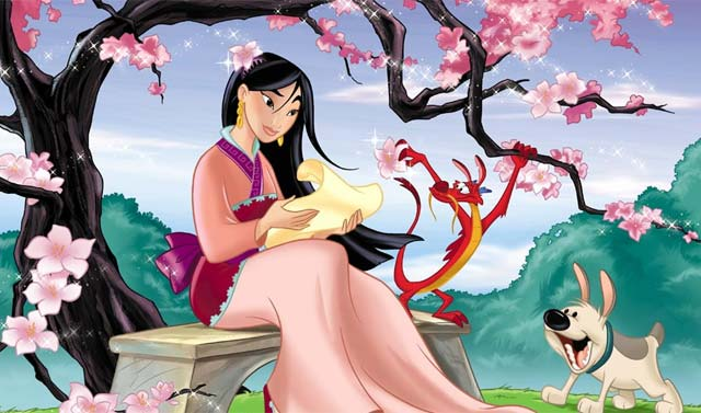 Reading in garden Mulan 1998 animatedfilmreviews.blogspot.com