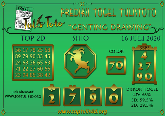 Prediksi Togel GENTING DRAWING TULISTOTO 16 JULI 2020