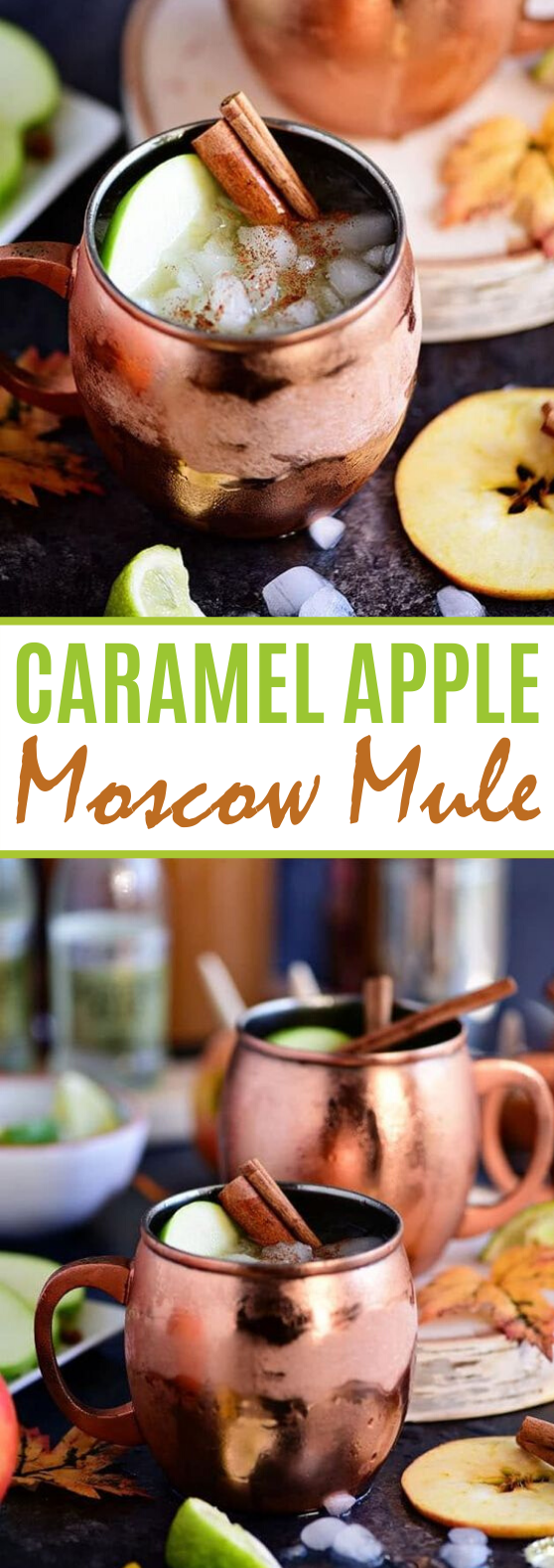 Caramel Apple Moscow Mule #drinks #alcohol #cocktails #fall #recipe