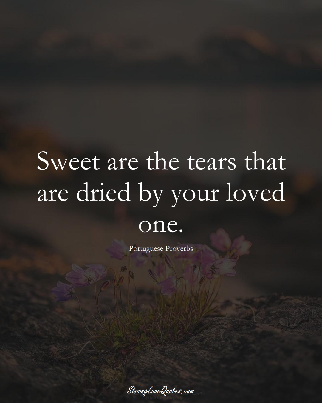 Sweet are the tears that are dried by your loved one. (Portuguese Sayings);  #EuropeanSayings