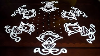 Flowers kolam designs with 11-6 middle