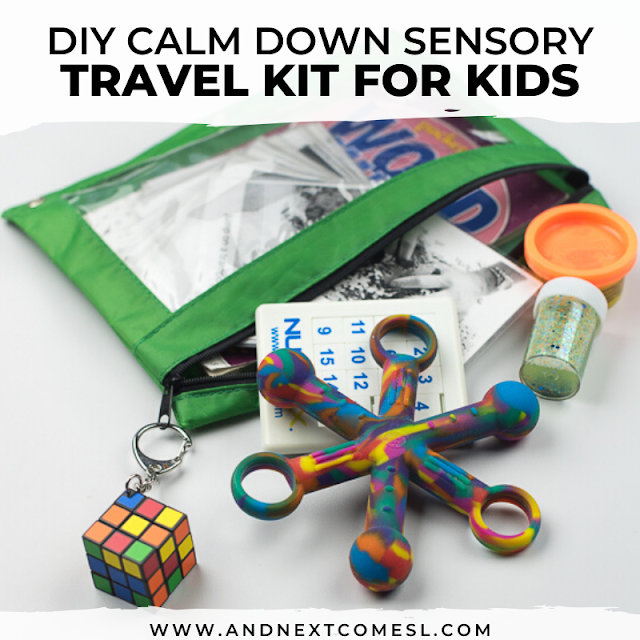 Travel sensory kit for kids with autism