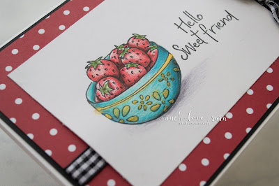 This sweet hello card, was created with the Fun Stampers Journey Bowled Over stamp set, and Color Burst Pencils.
