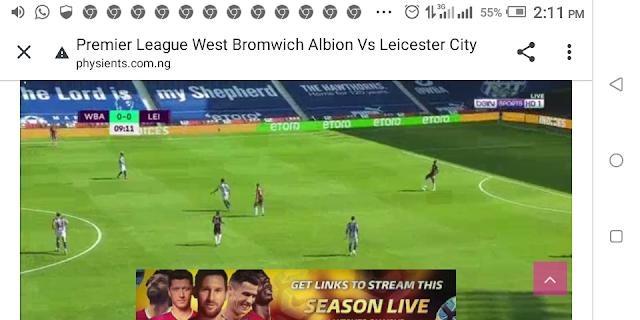 ⚽⚽⚽⚽ Premier League West Bromwich Albion Vs Leicester City ⚽⚽⚽⚽