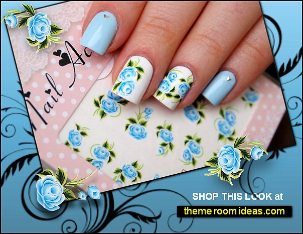 Light blue roses nail water decals Manicure supplies Floral nails