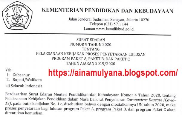 Surat Edaran (SE) Kemdikbud Nomor 9 Tahun 2020