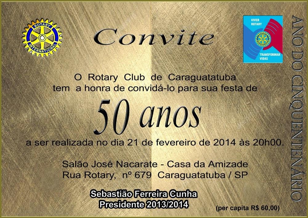 Mensagem De Aniversario De 50 Anos Para Amiga: Caraguablog: FESTA DE 50 ANOS DO ROTARY CLUB DE CARAGUATATUBA