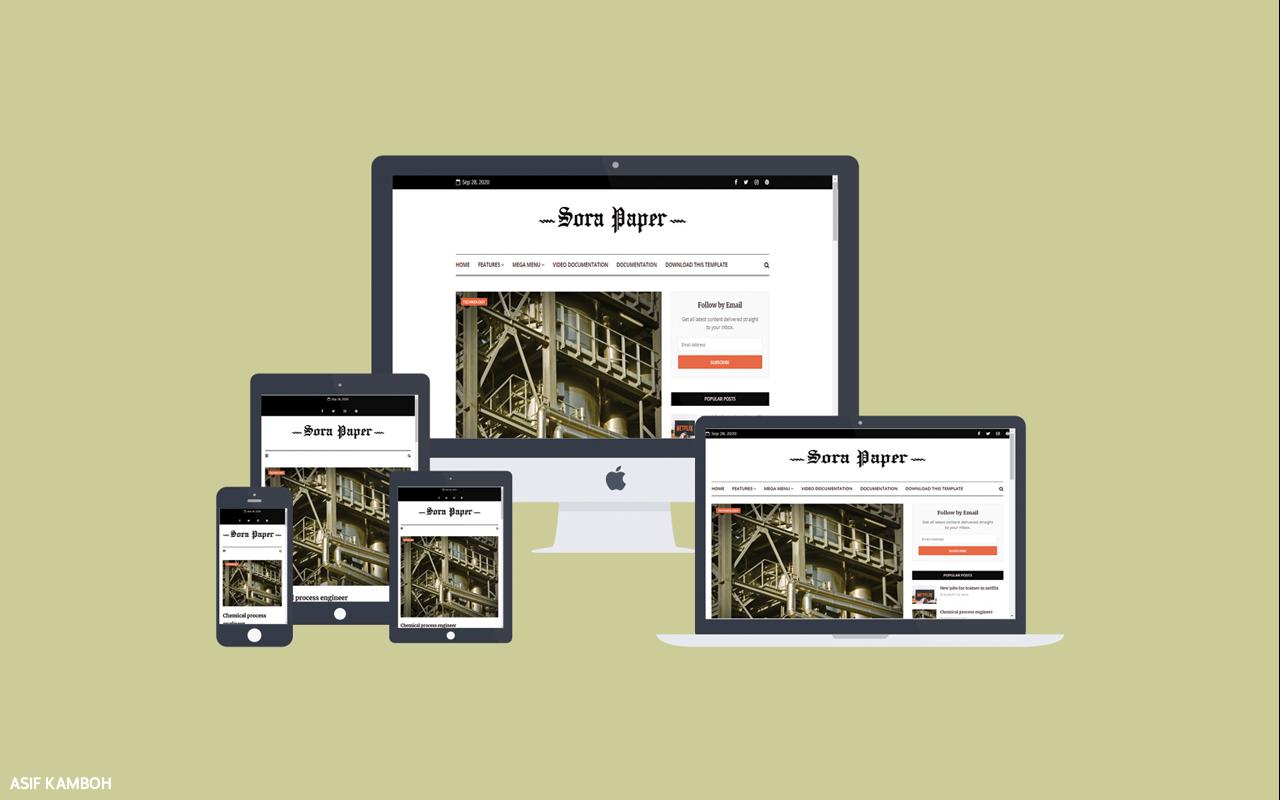Sora Paper Premium Blogger Template