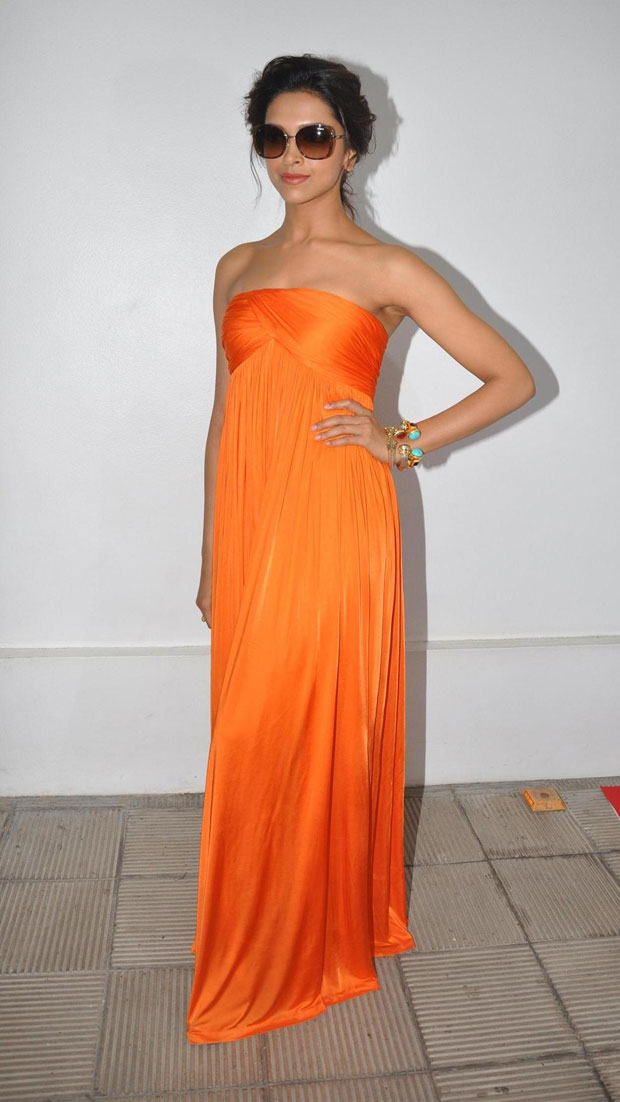 Bollywood Actress Deepika Padukone Photos in Orange Dress