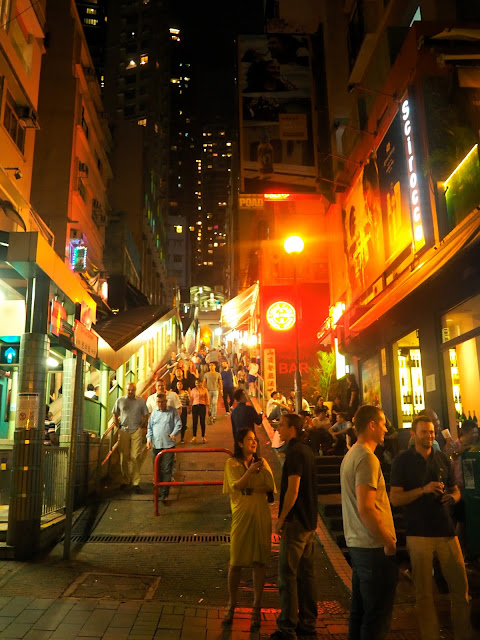 Soho (Shelley Street with Mid-Levels Escalator) at night, Central, Hong Kong