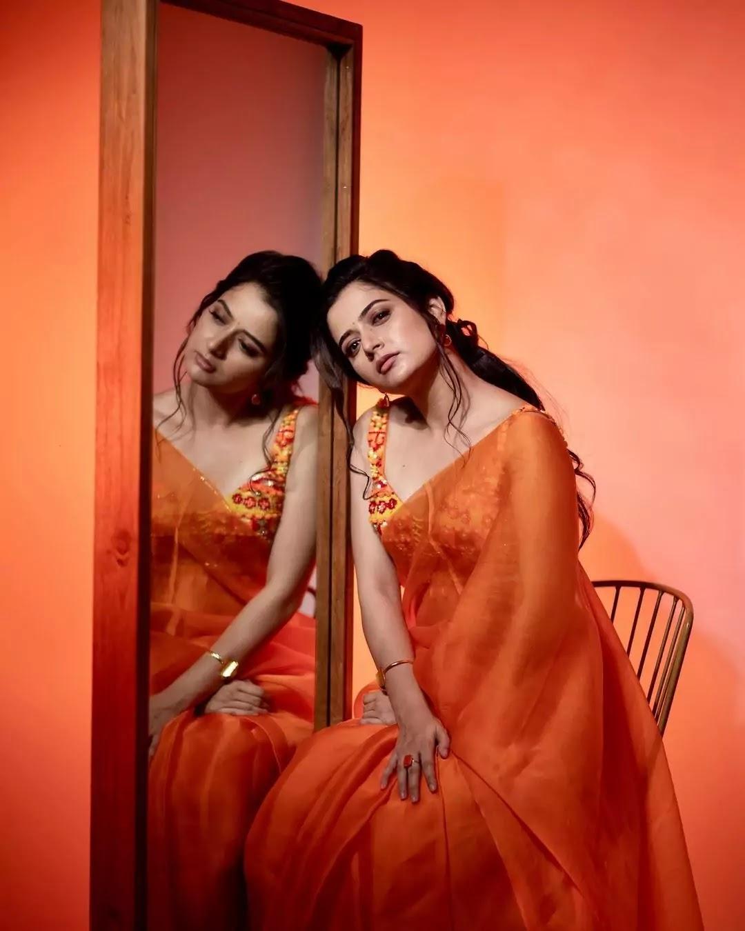 ashika-ranganath-in-orange-saree