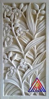 Relief batu alam paras jogja motif kembang