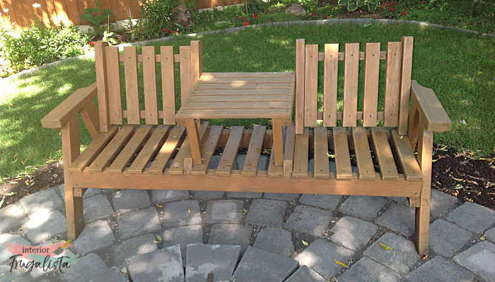 A full-circle journey of a sentimental 30 year old damaged wooden tete-a-tete bench and how we made it look brand new, then old and weathered again.