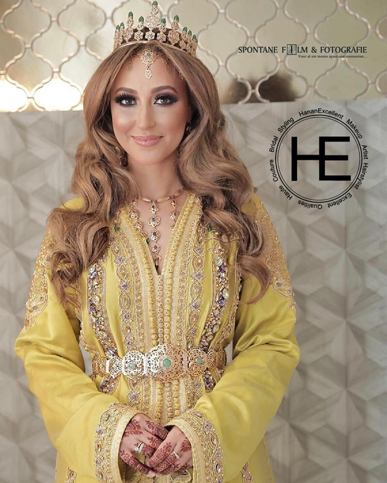 caftan de mariage jaune style de luxe 2019