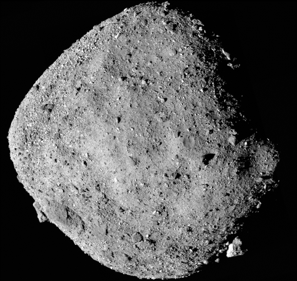 This is a mosaic image of asteroid Bennu, from NASA's OSIRIS-REx spacecraft. The discovery of sugars in meteorites supports the hypothesis that chemical reactions in asteroids – the parent bodies of many meteorites – can make some of life's ingredients.  Credits: NASA/Goddard/University of Arizona  Full caption