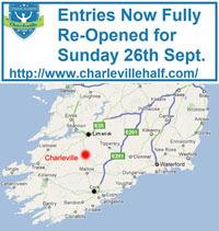 Charleville Half-Marathon in N Cork - Sun 28th Sept 2021