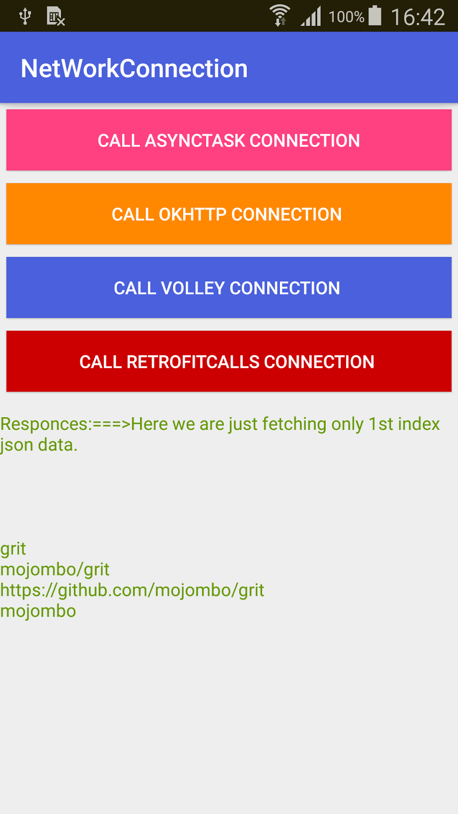 The Android Network connection Operations