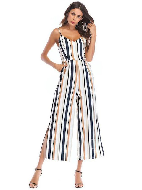 Stripe Floral Split Cami Women's Jumpsuit
