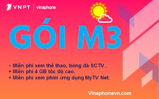 Có ngay 4GB, miễn phí 3G/4G xem SCTV thể thao với gói M3 VinaPhone