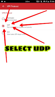 Select UDP to continue
