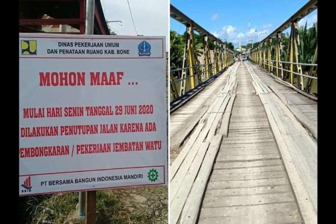 Segera Diperbaiki, Jembatan Watu Ditutup Mulai 29 Juni