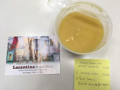 Lacantina street food σούπα, σούπα take away, σούπα νηστίσιμη, σελινόσουπα, σούπα βελουτέ, παράξενο πιρούνι, paraxeno pirouni