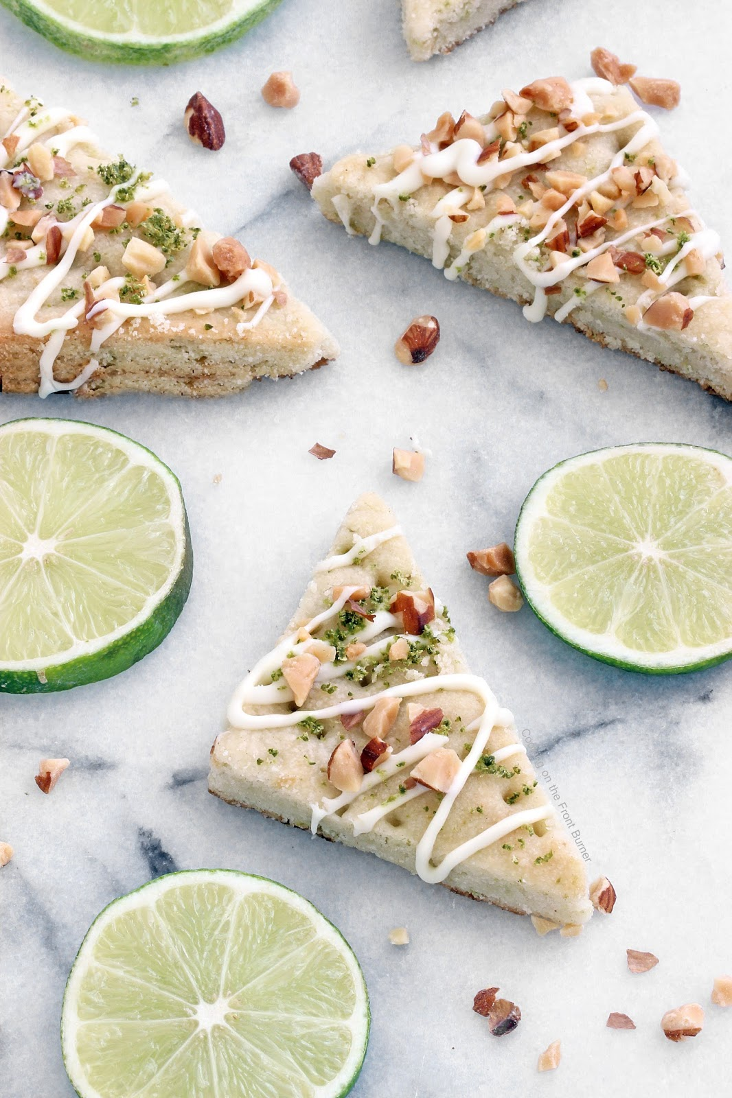 Lime Shortbread Cookies | Cooking on the Front Burner #dessert #whitechocolate #almonds