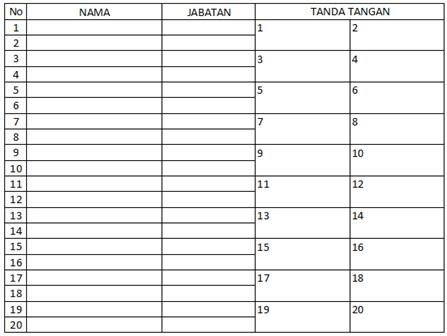 Contoh Daftar Hadir Acara Seminar Model 2