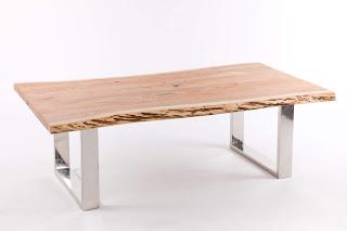 mesa de centro acero inoxidable y madera natural de acacia