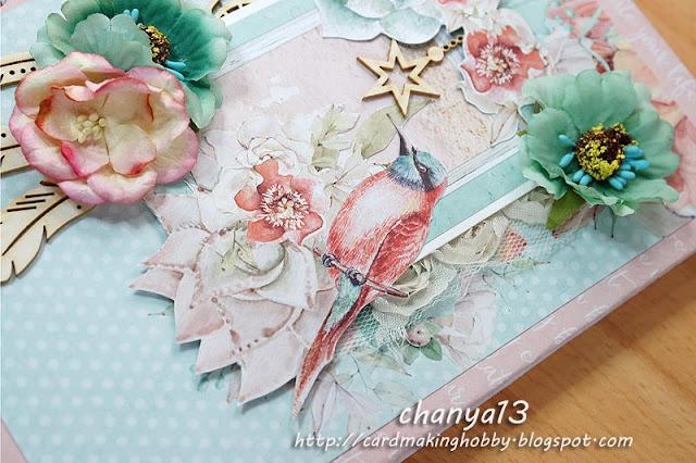 ozdoby na notesie -kwiaty, tekturki, wstążka