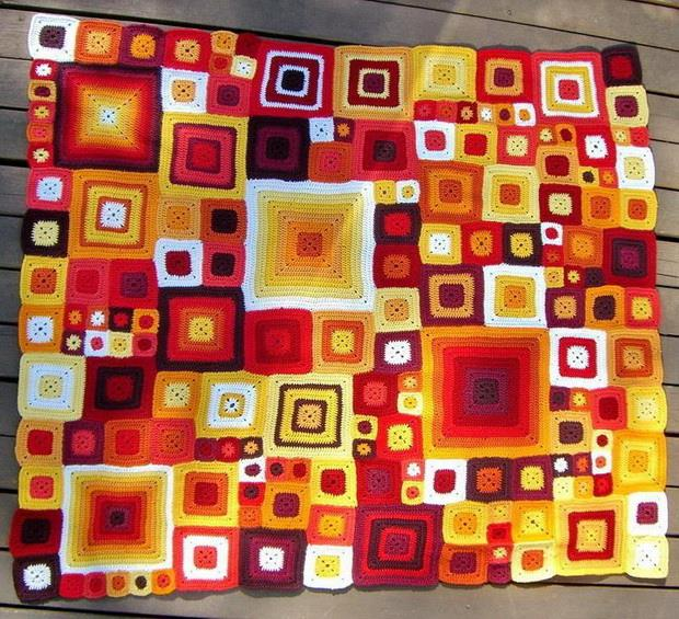 Crochet Babette-Blanket, Square motif, Afghan