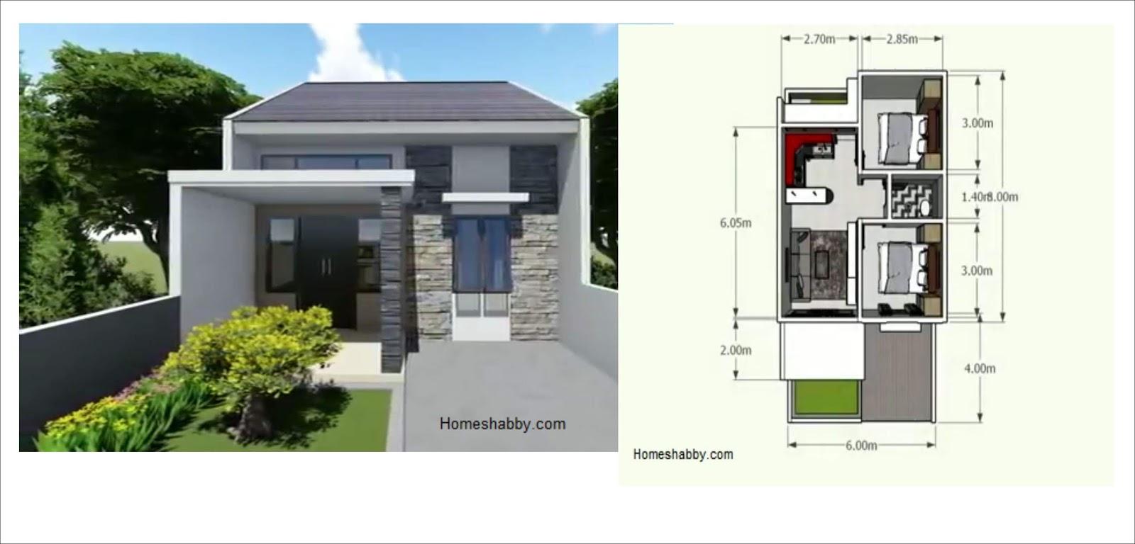 Desain dan Denah Rumah Gaya Minimalis Type 36/72 2 Kamar ...