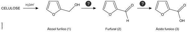O esquema de reações mostra a transformação da celulose no álcool furílico e a conversão deste em outros derivados