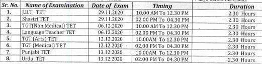 image: HP TET NOV 2020 Exam Schedule November-December 2020 @ TeachMatters