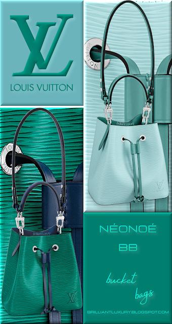 Louis Vuitton NéoNoé BB bucket bags in seaside blue & menthe trim and vert emeraude green & seaside blue trim #bags #louisvuitton #brilliantluxury