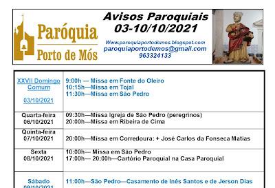 Avisos Paroquiais - 03-10/10/2021