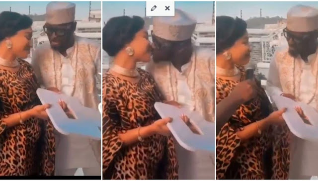 She is Pregnant- Fans reacts to Tonto Dikeh baby bump as she gifts her man a Birthday gift (Video)