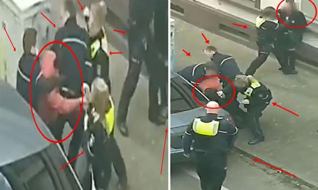اعتداء عنصري بغيض : بالفيديو ... الشرطة الألمانية تعتدي بالعنف الشديد علي مهاجرا تونسيا بنفس طريقة جورج فلويد ... تفاصيل