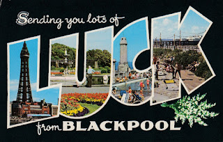 Sending you lots of LUCK from Blackpool. Bamforth Postcard. Postally used 6 August 1986