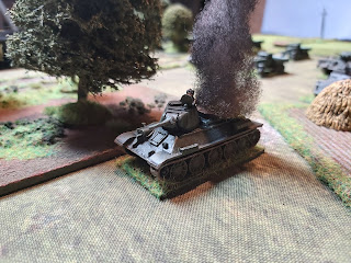 The Germans open fire and destroy a T-34