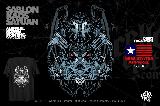 Cyberpunk Samurai Robot Mask Sacred Geometry 1455546123